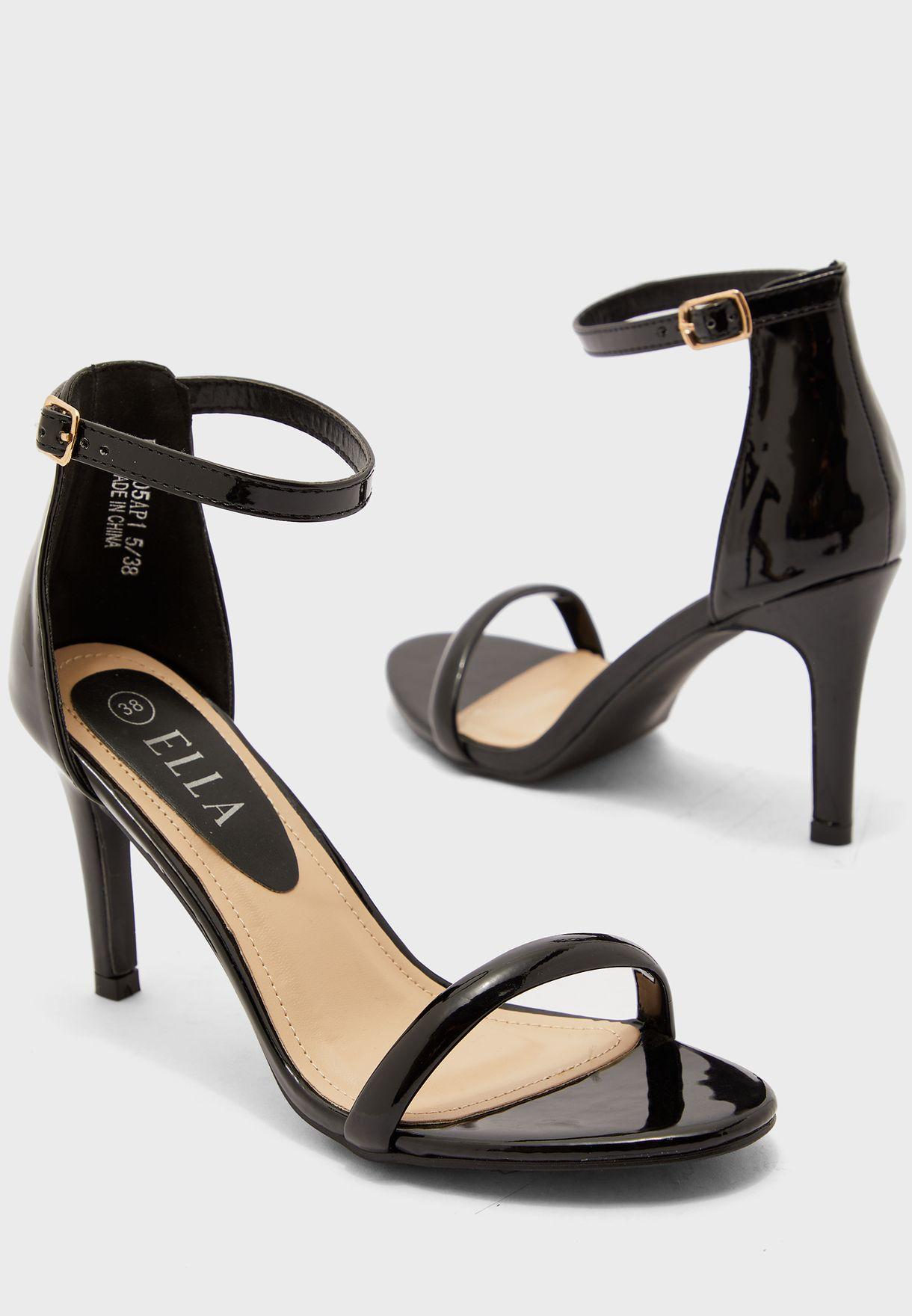 Barely There Patent Ankle Strap Stiletto Sandal