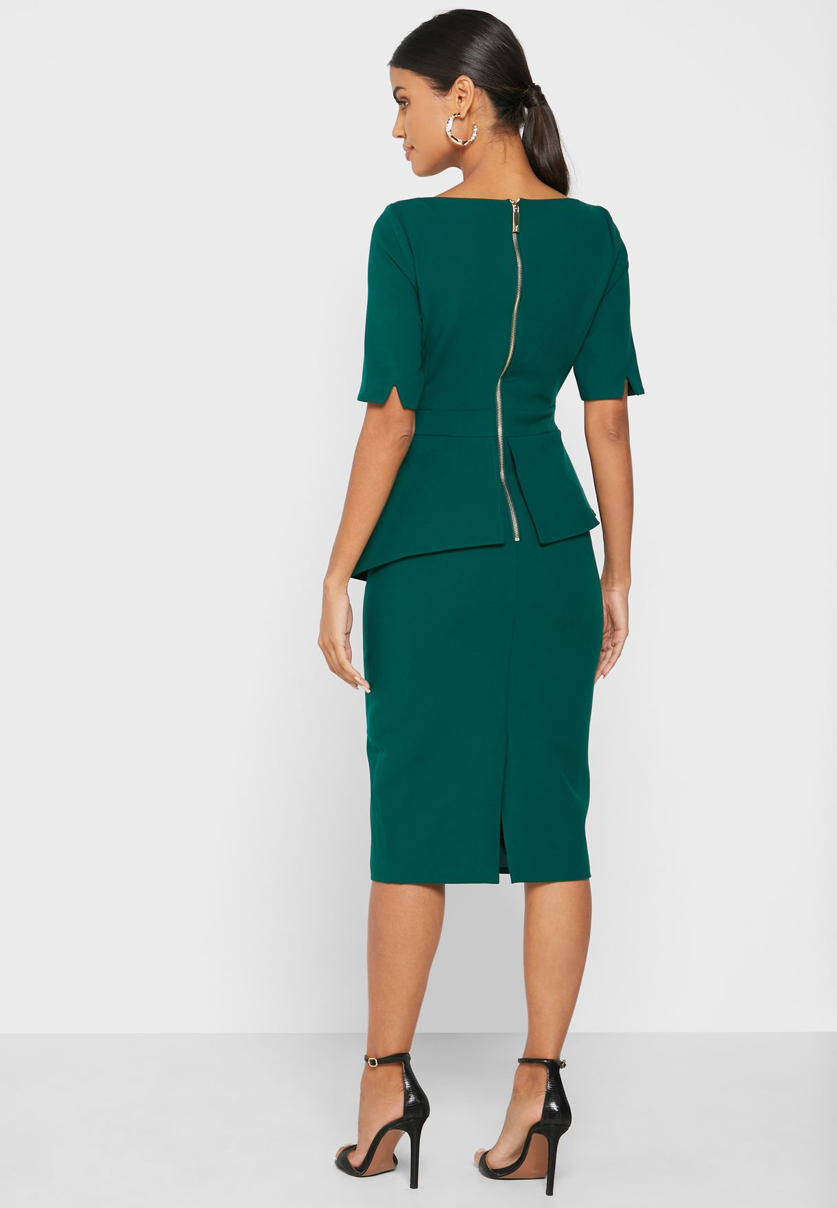 Romolaa Peplum Detail Dress