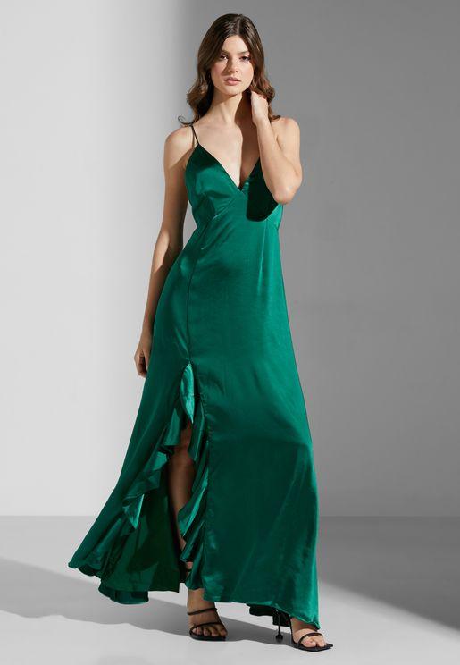 فستان بشق في الامام