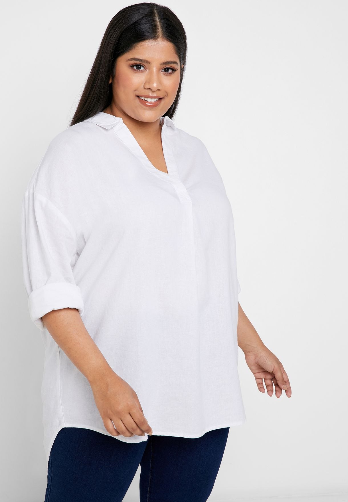 e45fe77c6ce3f5 Shop Evans white Linen Overhead Shirt 11N22CWHT for Women in Oman ...