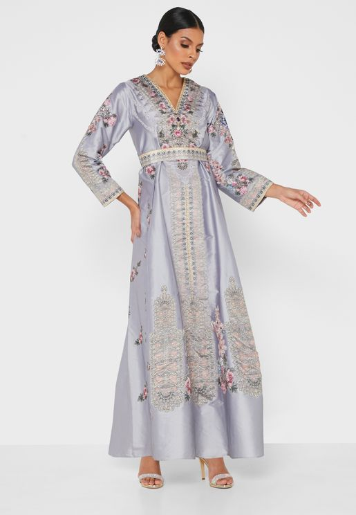 Collar Detail Wide Sleeve Printed Dress
