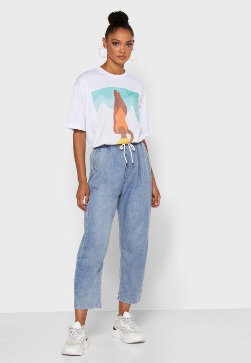 Drawcord Denim Pants
