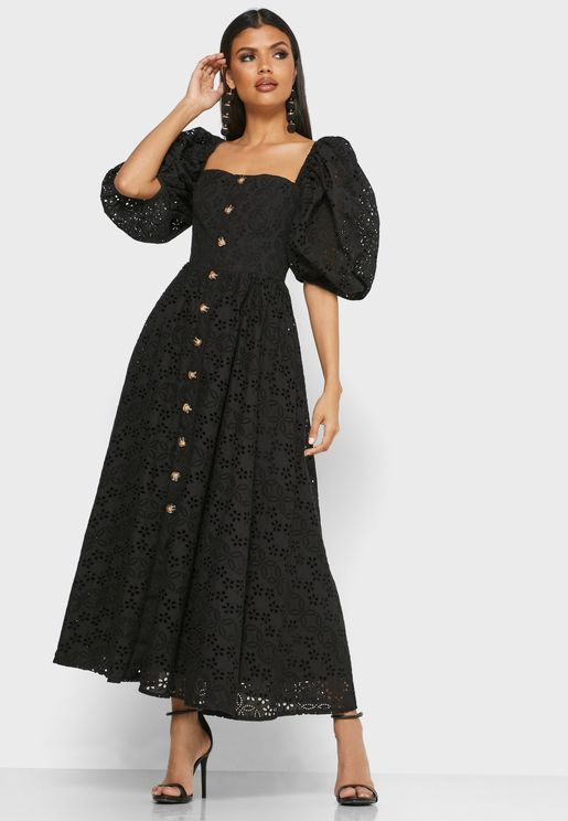 Puff Sleeve Button Through Schiffli Dress