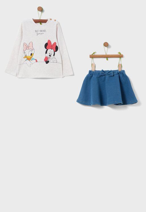 Infant Mini Mouse Graphic T-Shirt + Skirt Set