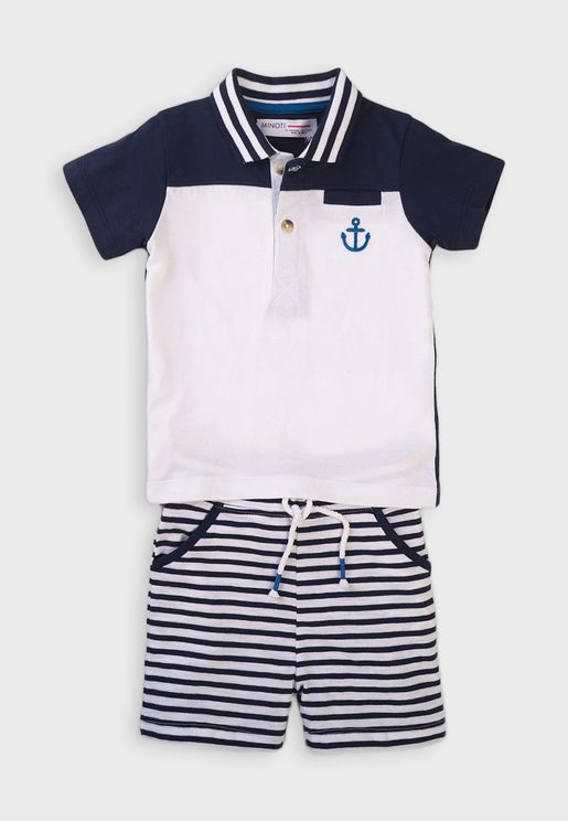 Infant Color Block Polo + Shorts Set