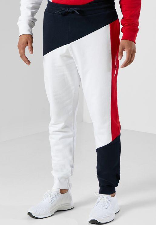 Terry Colour Block Cuffed Sweatpants