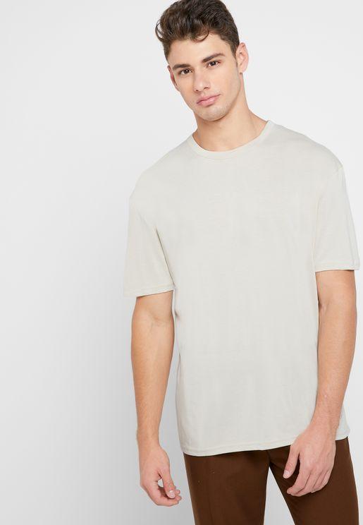 Ecru Cupro Crew Neck T-shirt