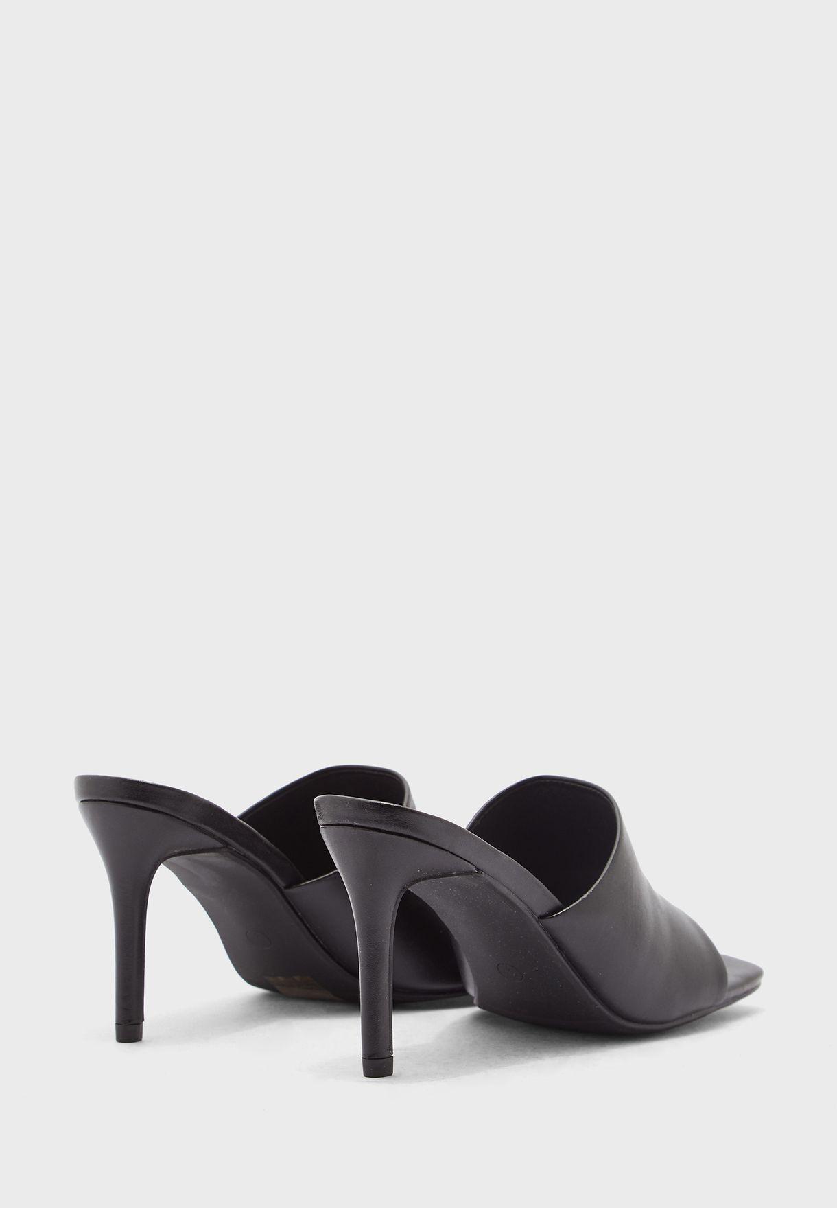 Faux Leather Mid Heel Sandal
