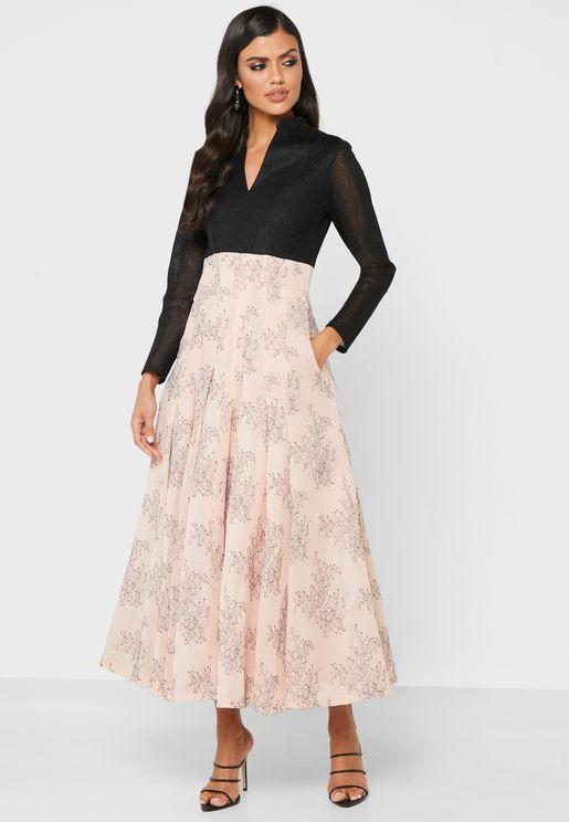 Floral Skirt And Shirt Dress