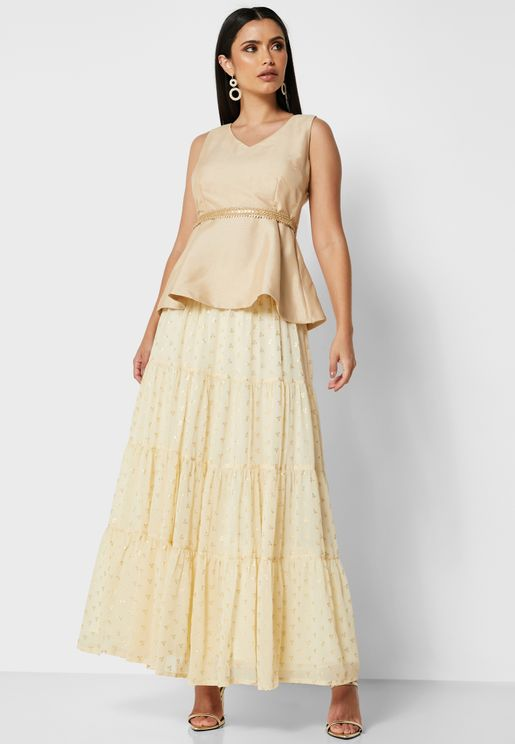 Ivory Foil Tiered Maxi Skirt