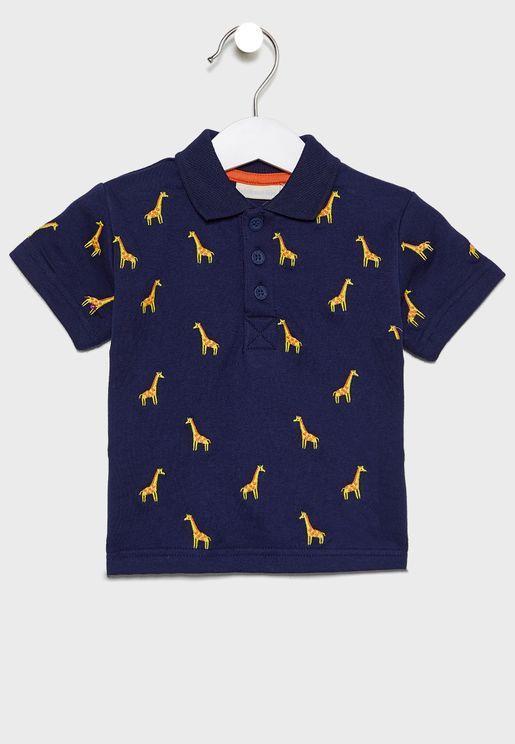 Kids Giraffe Embroidered Polo