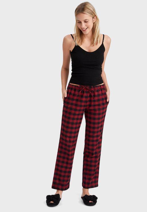 Tie Waist Checked Pyjama