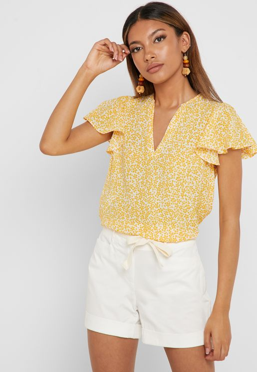 Ruffle Sleeve Split Neck Top