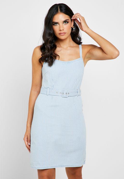 Striped Belted Dress
