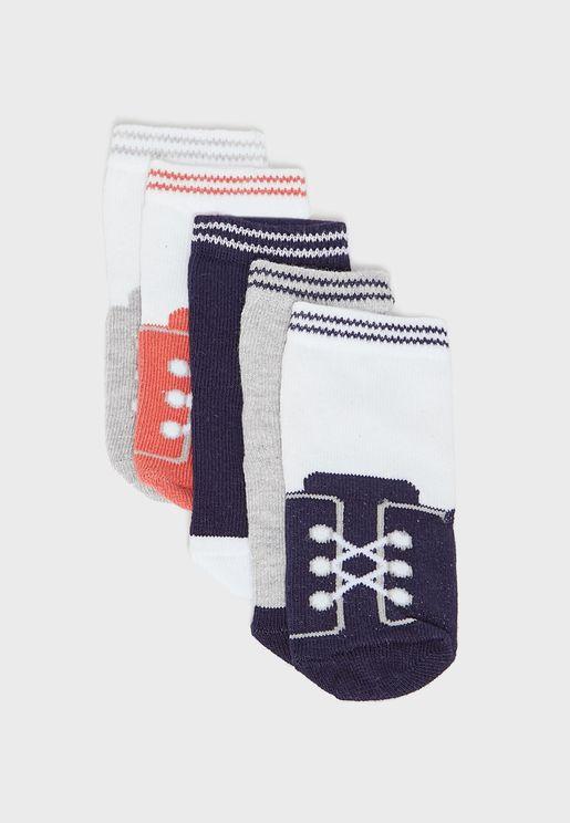 Infant 5 Pack Printed Socks