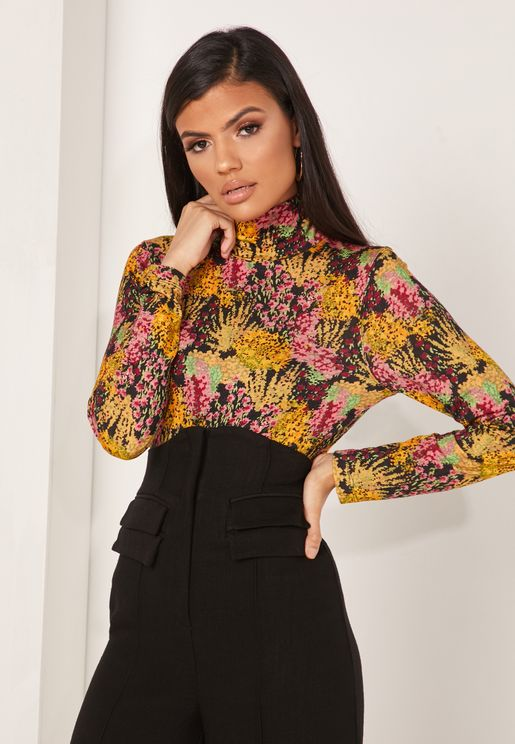 Sierra Floral Print Turtle Neck Top