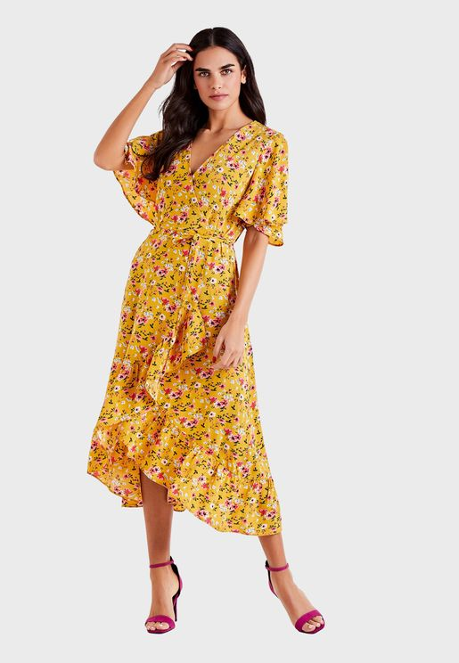 Ruffle Trim Asymmetric Printed Wrap Dress