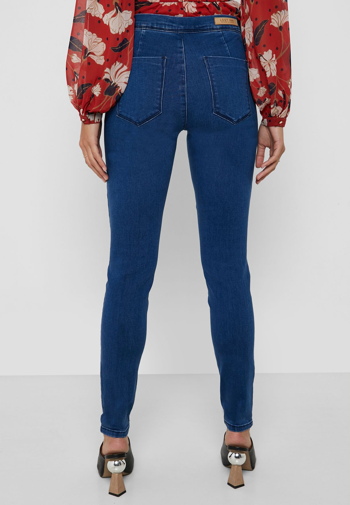 Mid Rise Button Detail Skinny Jeggings