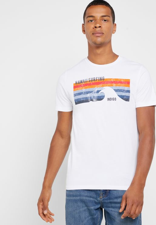 Hawaii Surfing Crew Neck T-shirt