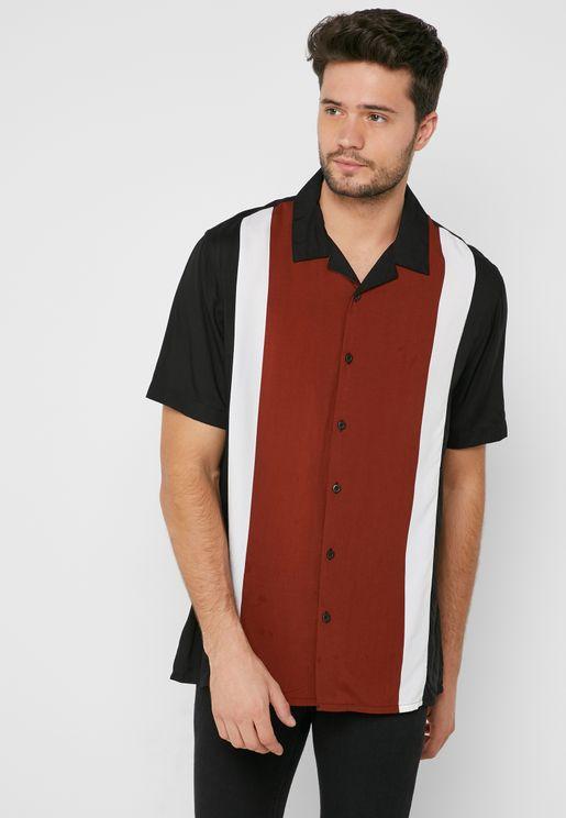 Eddie Viscose Striped Revere Shirt