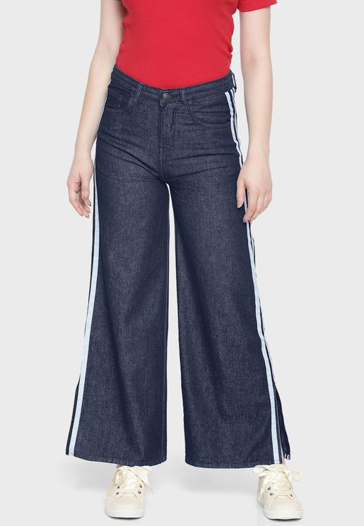 Wide Leg Side Slit Mid Rise Jeans
