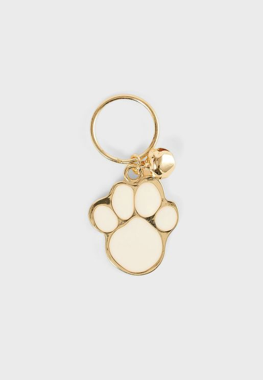 Gold Paw Collar With Address Pendant