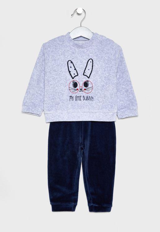 Infant Bunny Sweatshirt + Sweatpants Set