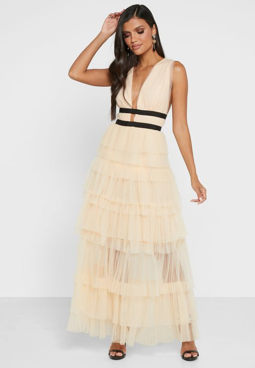 Contrast Detail Tiered Plunge Dress