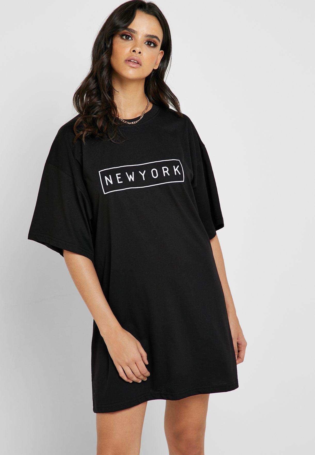 4948e5e6a5b1 Shop Missguided black Slogan Oversized T-Shirt Dress DD919168 for ...