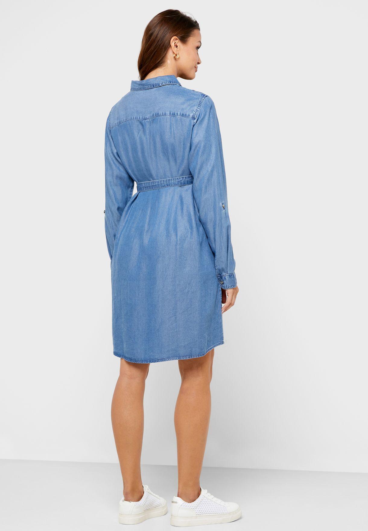 Roll Sleeve Denim Dress