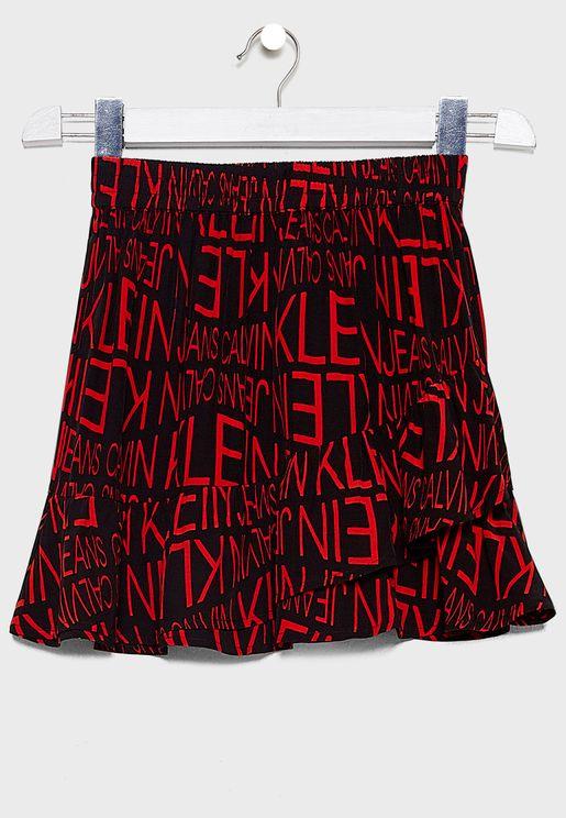 Kids Distorted Logo Skirt