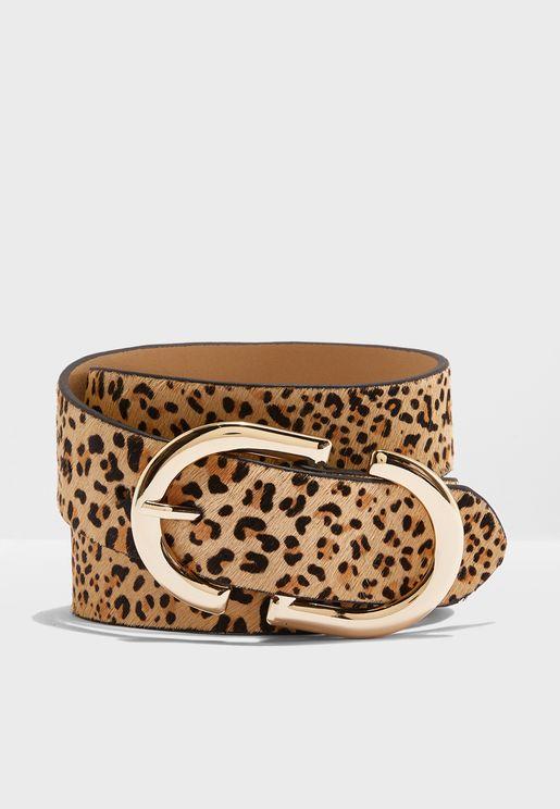 Leopard Print Logo Belt