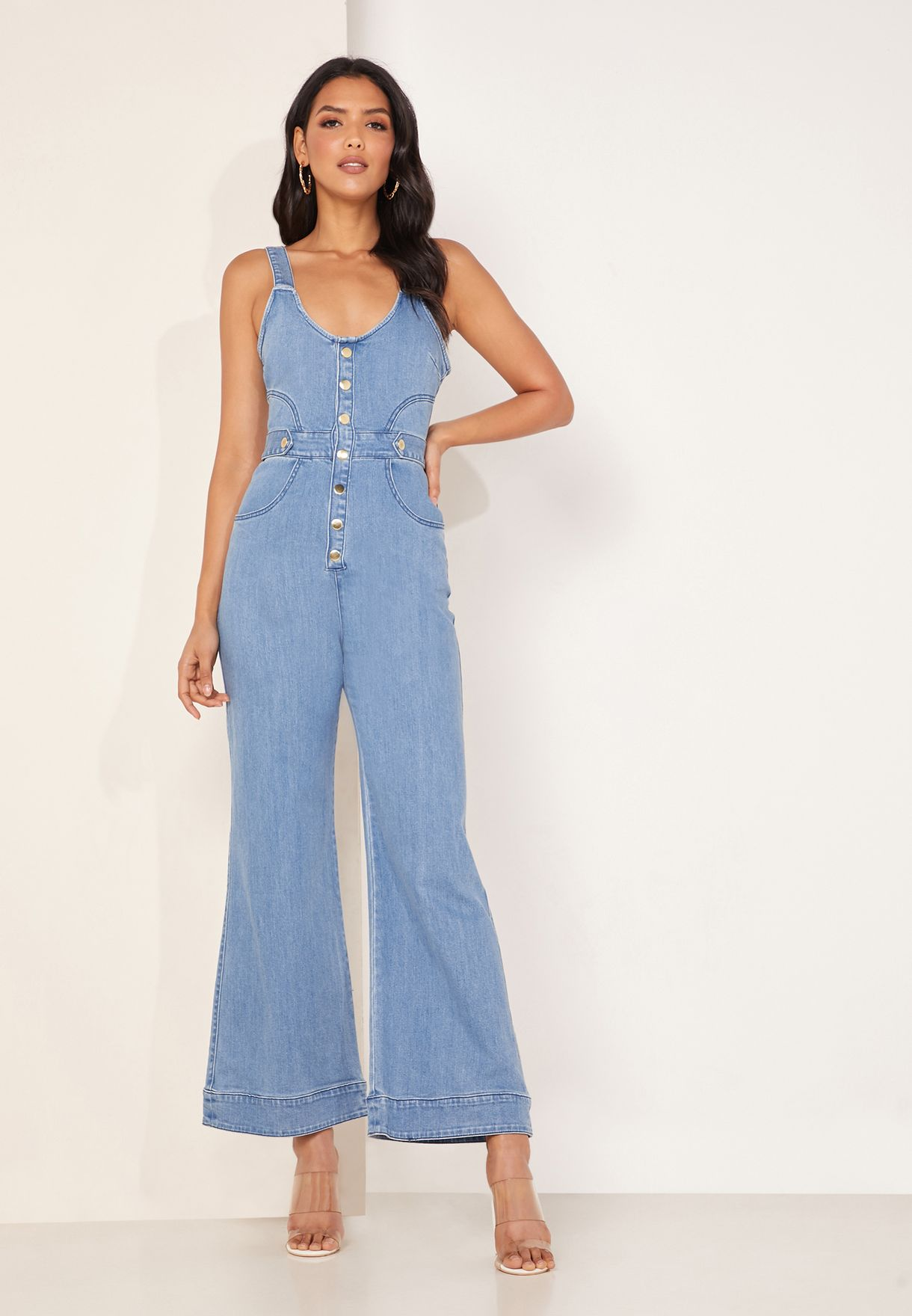 Mia Wide Leg Denim Jumpsuit