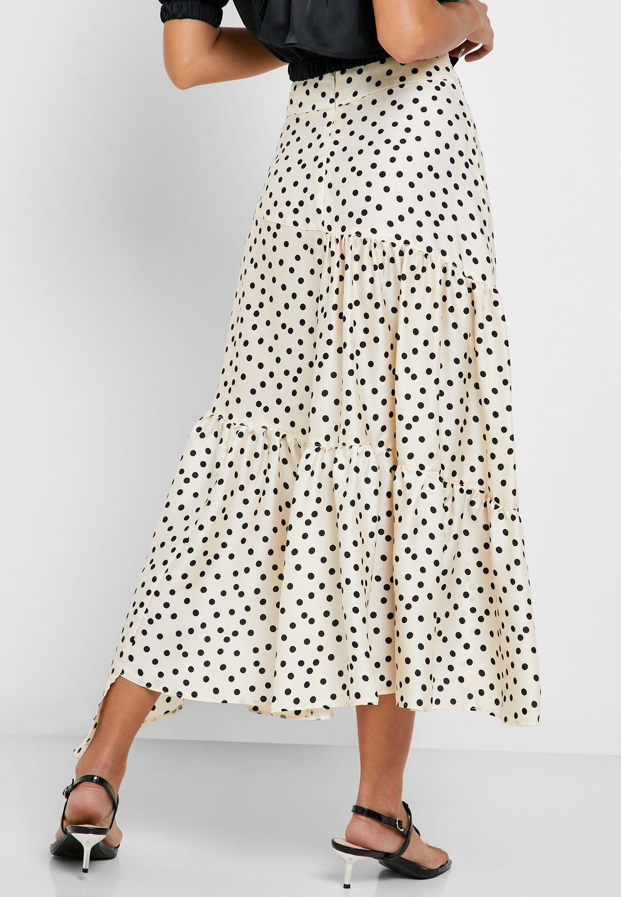 Dot Print Tiered Midi Skirt