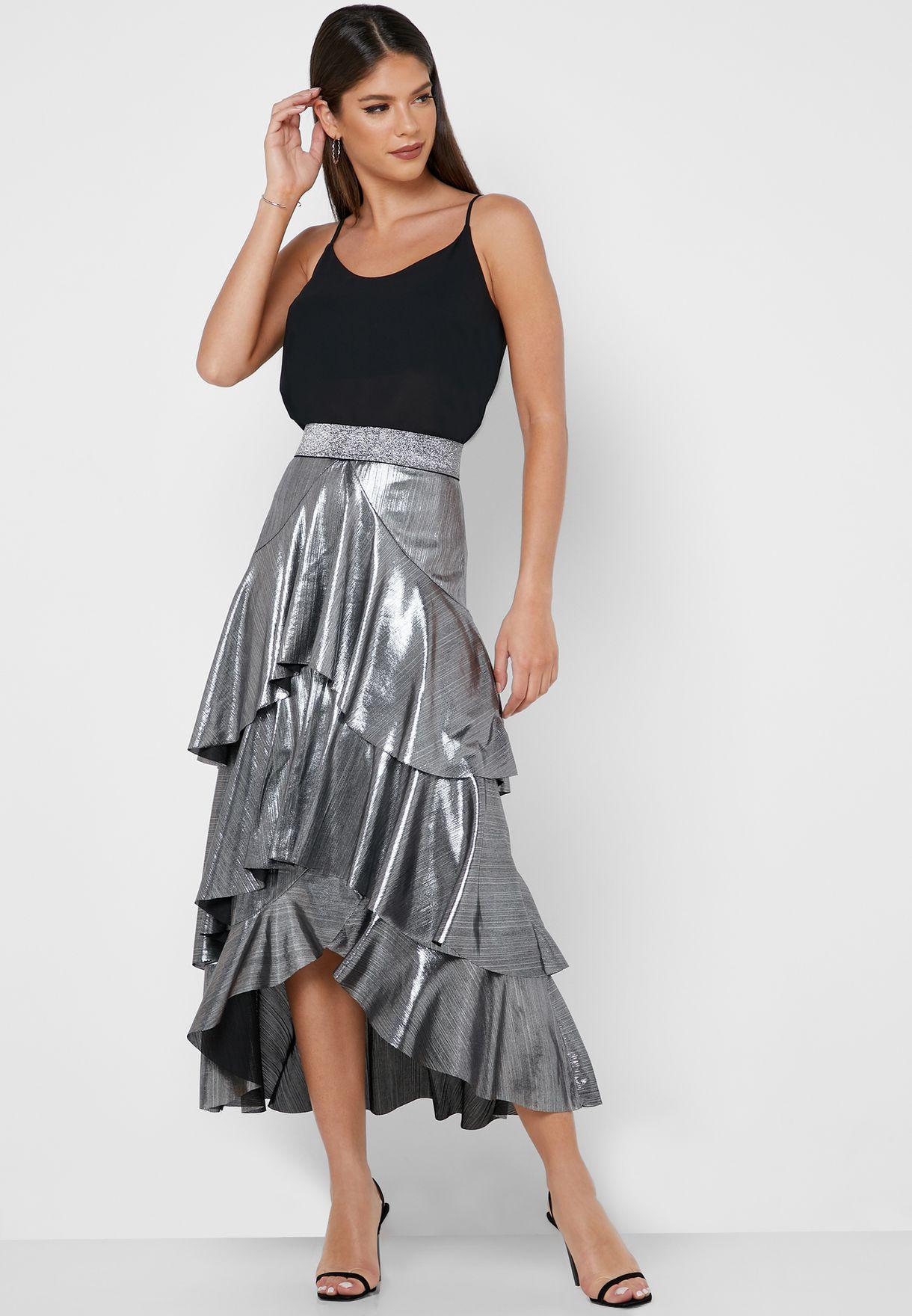 Shimmer Tiered Skirt