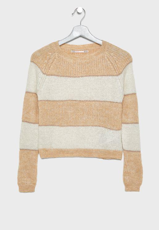 Teen Color Stripe Sweater
