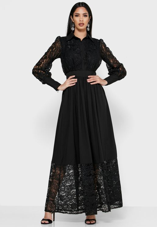 Lace Detail Shirt Maxi Dress