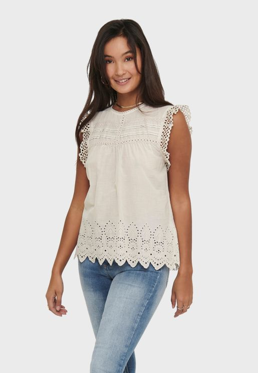 Frill Sleeve Broiderie Top