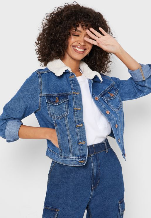 Teddy Collar Denim Jacket