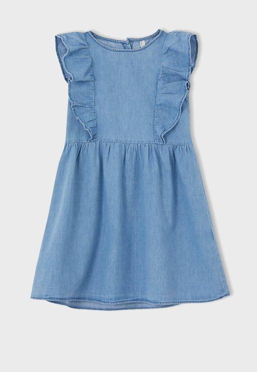 Kids Ruffle Denim Dress