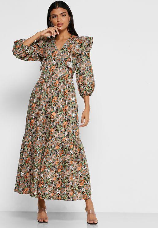 فستان بياقة V مطبع