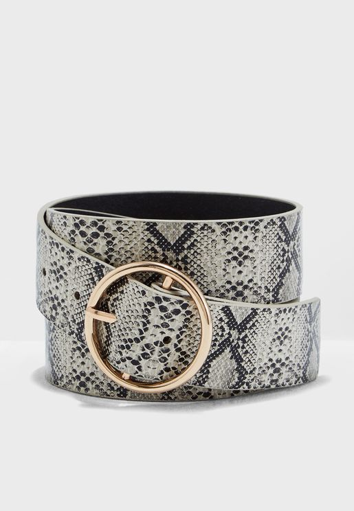 Jeans Belt In Snake Print With Circular Buckle