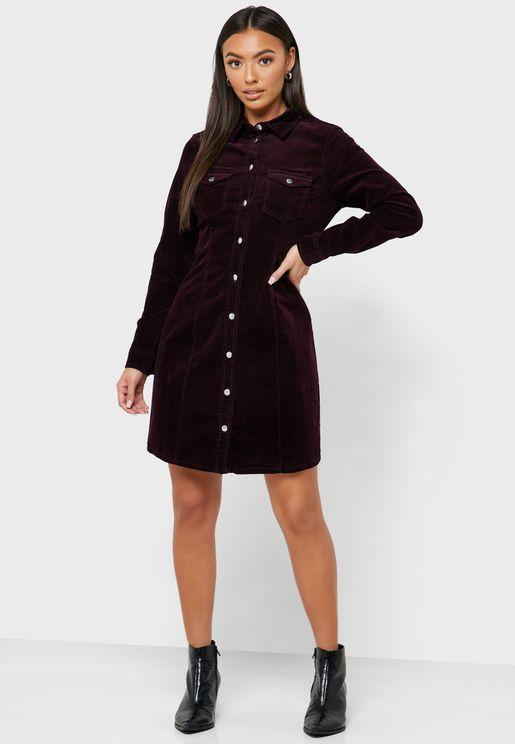 Pocket Detail Denim Shirt Dress