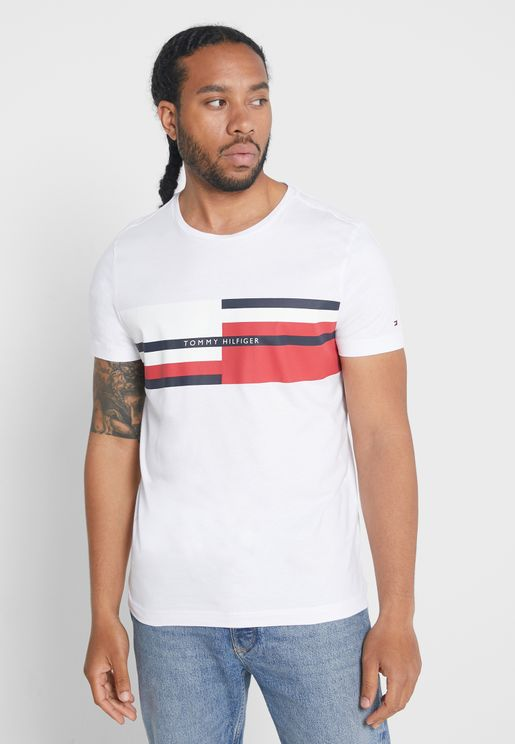 Abstract Stripe Crew Neck T-Shirt