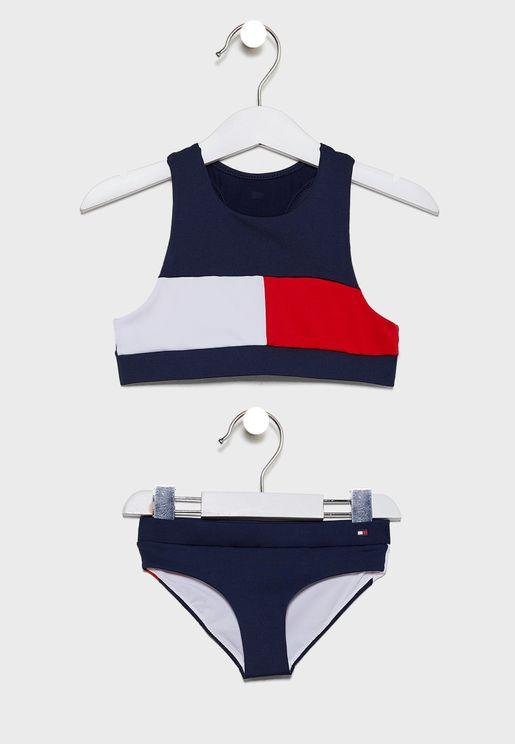 طقم سباحة للاطفال بشعار الماركة