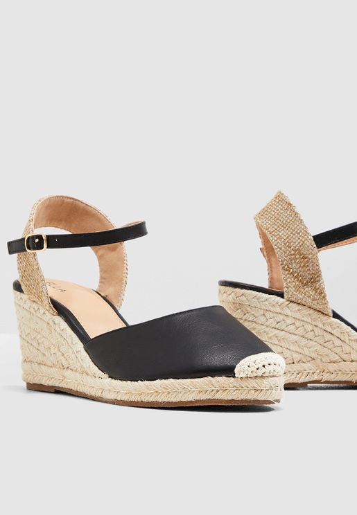 Closed Toe Espadrille Wedge Sandal