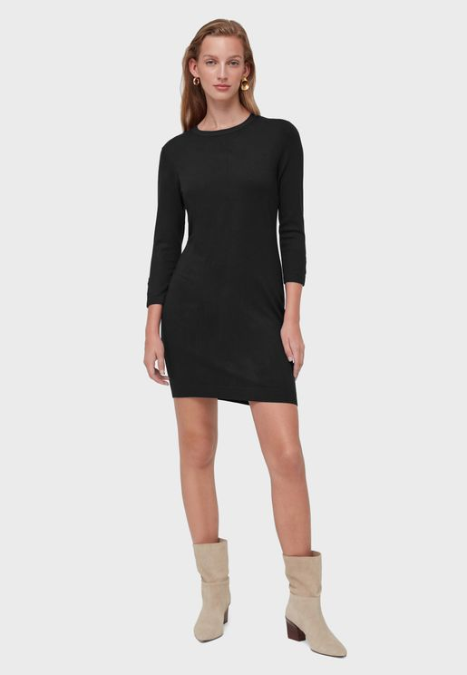 فستان بديكون بياقة دائرية