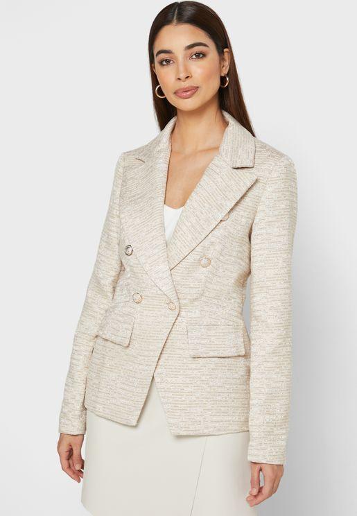 Tweed Double Breasted Pocket Blazer