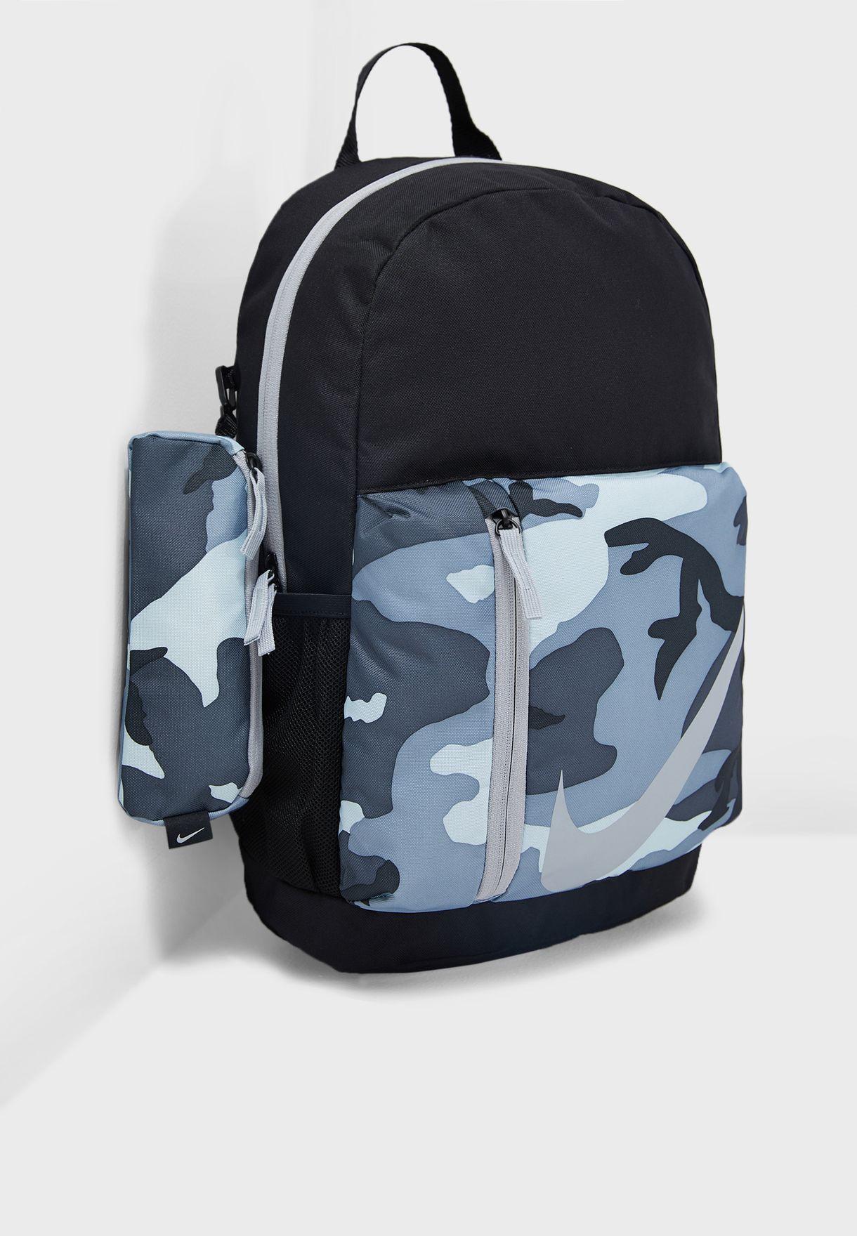 b5a03d0d0f7 Shop Nike black Elemental Camo Backpack BA5970-010 for Kids in UAE ...