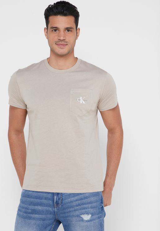 Monogram Pocket Crew Neck T-Shirt